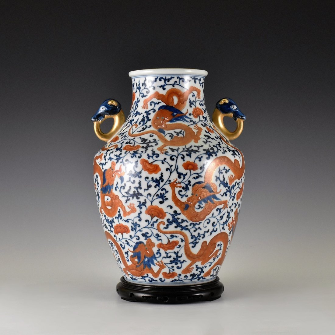 BLUE AND RED PORCELAIN ZUN VASE WITH GILT HANDLES
