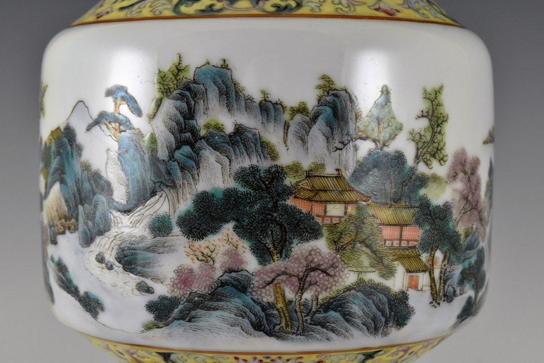 CHINESE FAMILLE ROSE PORCELAIN BALUSTER VASE - 6