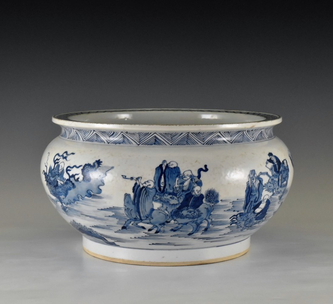 BLUE AND WHITE PORCELAIN BASIN WITH IMMORTAL MOTIF