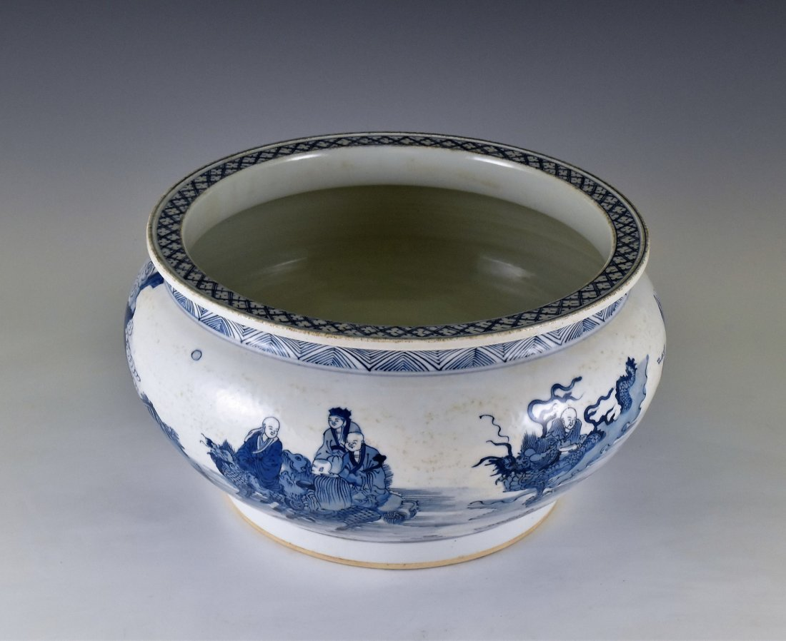 BLUE AND WHITE PORCELAIN BASIN WITH IMMORTAL MOTIF - 2