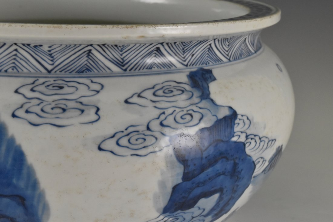 BLUE AND WHITE PORCELAIN BASIN WITH IMMORTAL MOTIF - 3