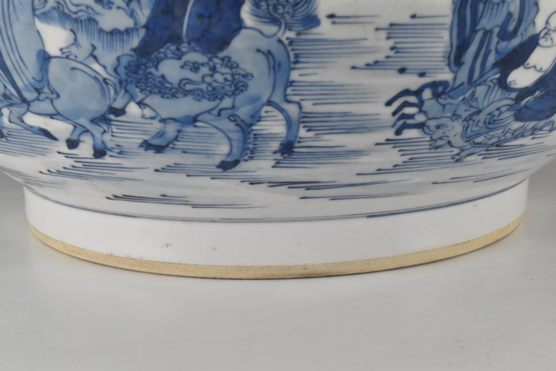 BLUE AND WHITE PORCELAIN BASIN WITH IMMORTAL MOTIF - 5