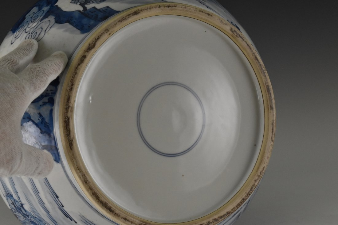 BLUE AND WHITE PORCELAIN BASIN WITH IMMORTAL MOTIF - 6
