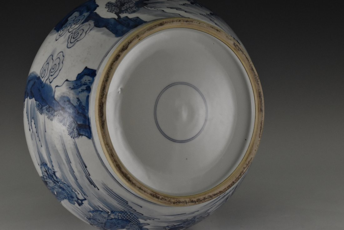 BLUE AND WHITE PORCELAIN BASIN WITH IMMORTAL MOTIF - 7