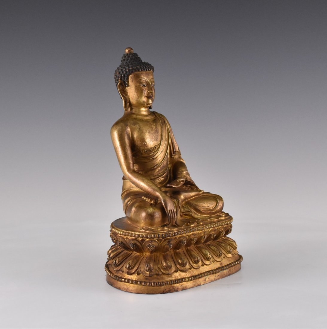 YONGLE MARK, GILT BRONZE FIGURE OF SAKYAMUNI BUDDHA - 2