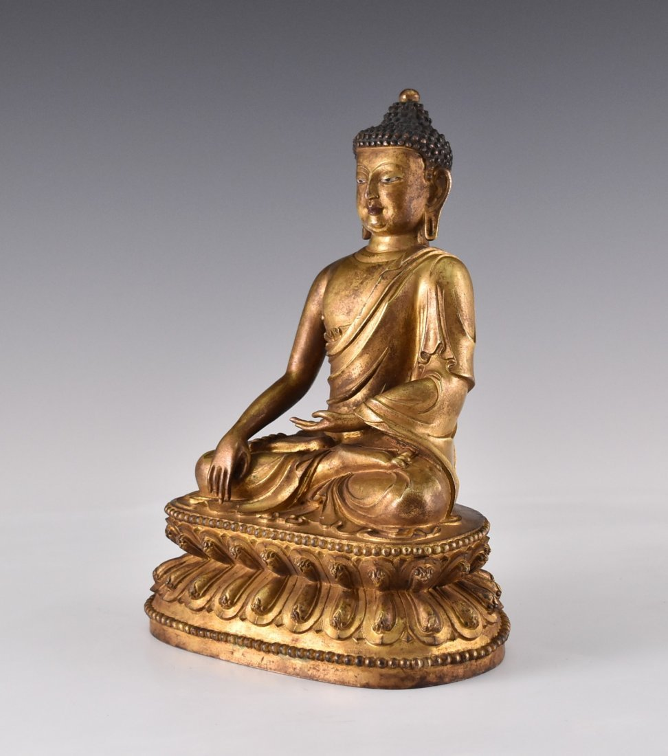 YONGLE MARK, GILT BRONZE FIGURE OF SAKYAMUNI BUDDHA - 4