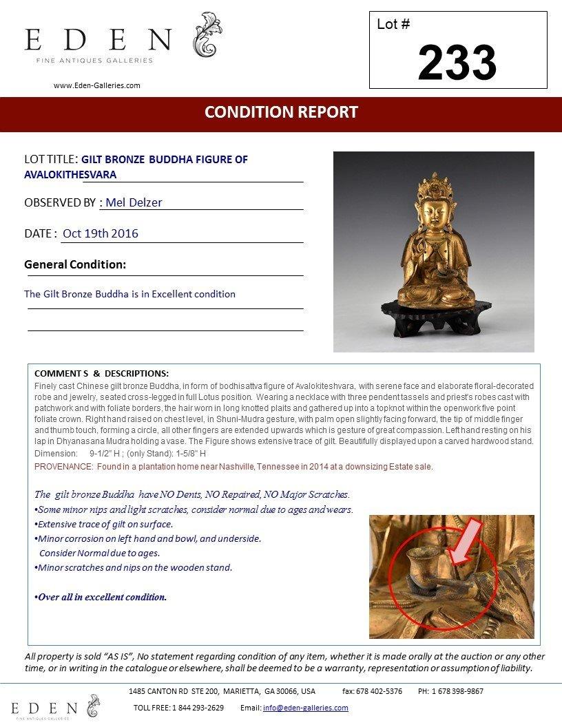 GILT BRONZE BUDDHA FIGURE OF AVALOKITHESVARA - 10