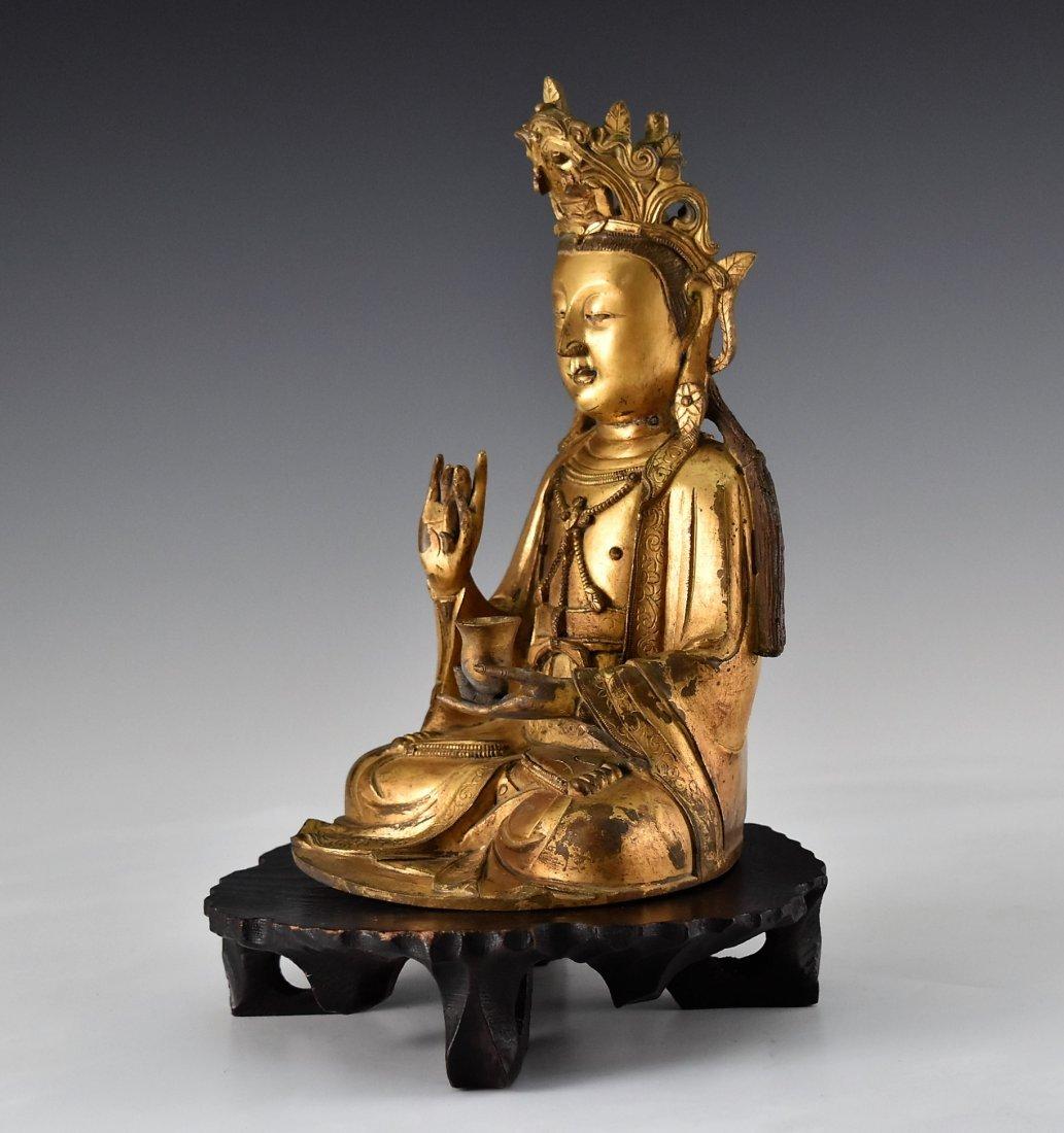 GILT BRONZE BUDDHA FIGURE OF AVALOKITHESVARA - 4