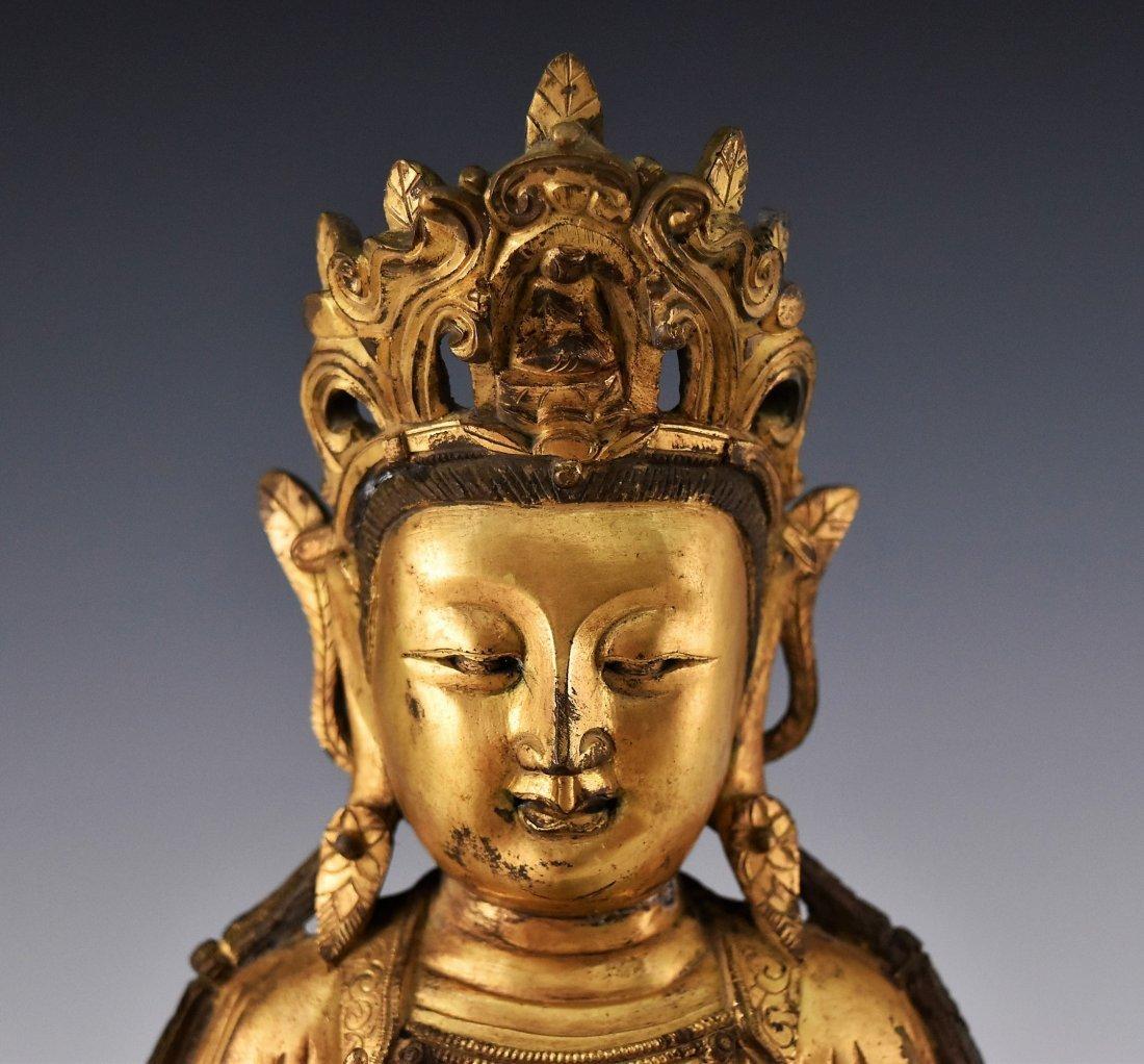 GILT BRONZE BUDDHA FIGURE OF AVALOKITHESVARA - 5
