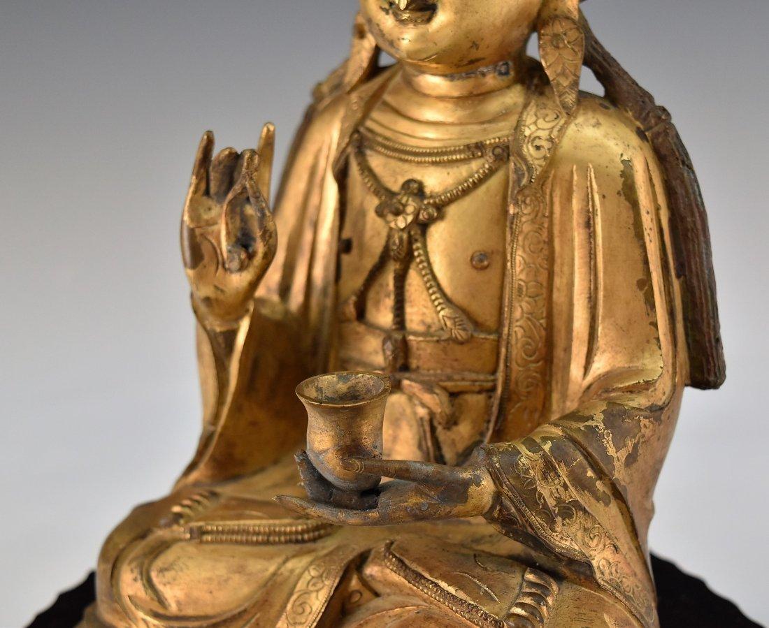GILT BRONZE BUDDHA FIGURE OF AVALOKITHESVARA - 6