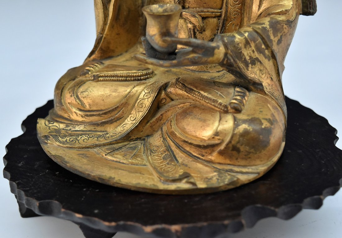 GILT BRONZE BUDDHA FIGURE OF AVALOKITHESVARA - 7
