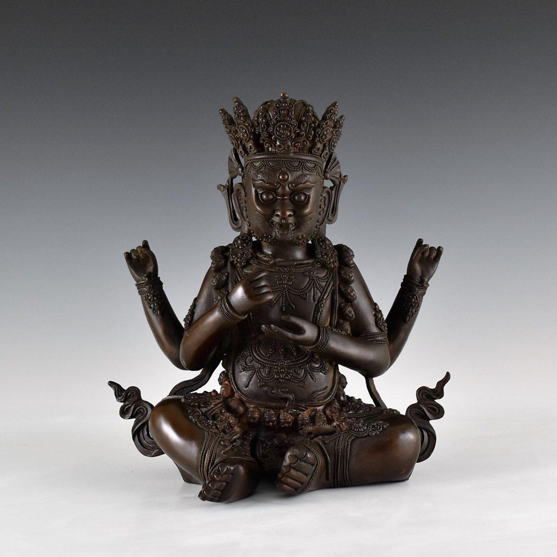 BRONZE BUDDHA FIGURE OF CHATURBHUJA MAHAKALA