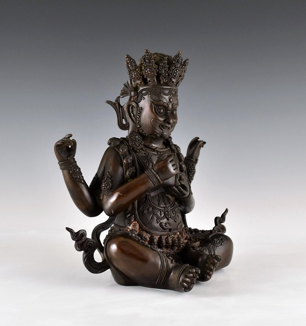BRONZE BUDDHA FIGURE OF CHATURBHUJA MAHAKALA - 2