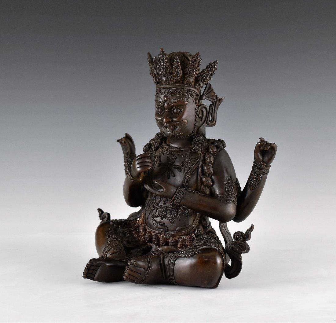 BRONZE BUDDHA FIGURE OF CHATURBHUJA MAHAKALA - 4