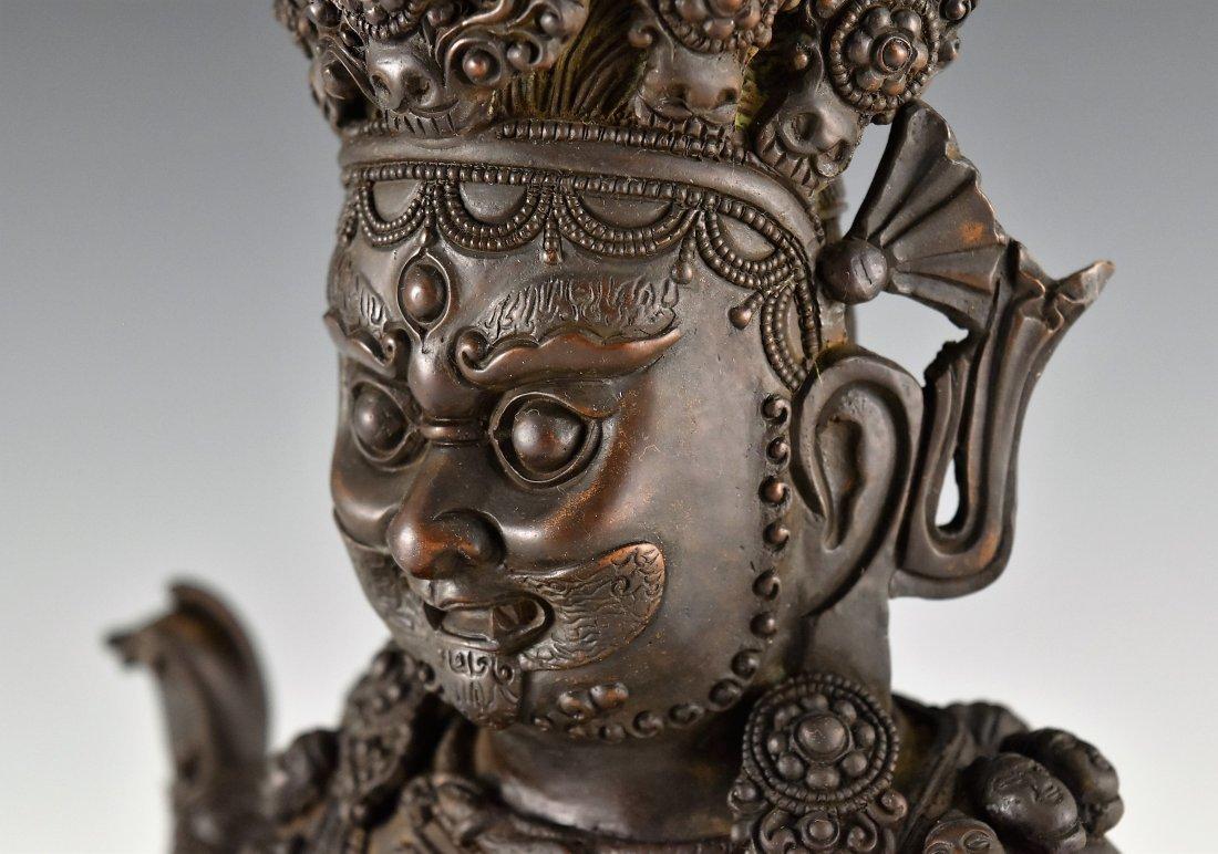BRONZE BUDDHA FIGURE OF CHATURBHUJA MAHAKALA - 6
