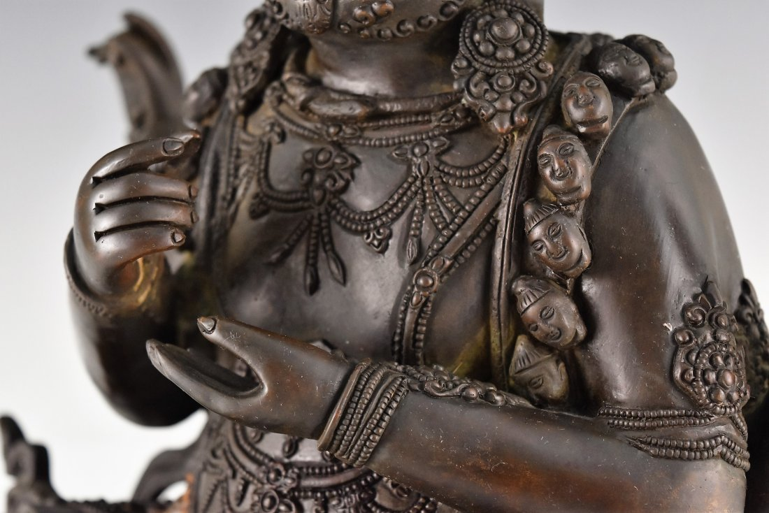 BRONZE BUDDHA FIGURE OF CHATURBHUJA MAHAKALA - 7