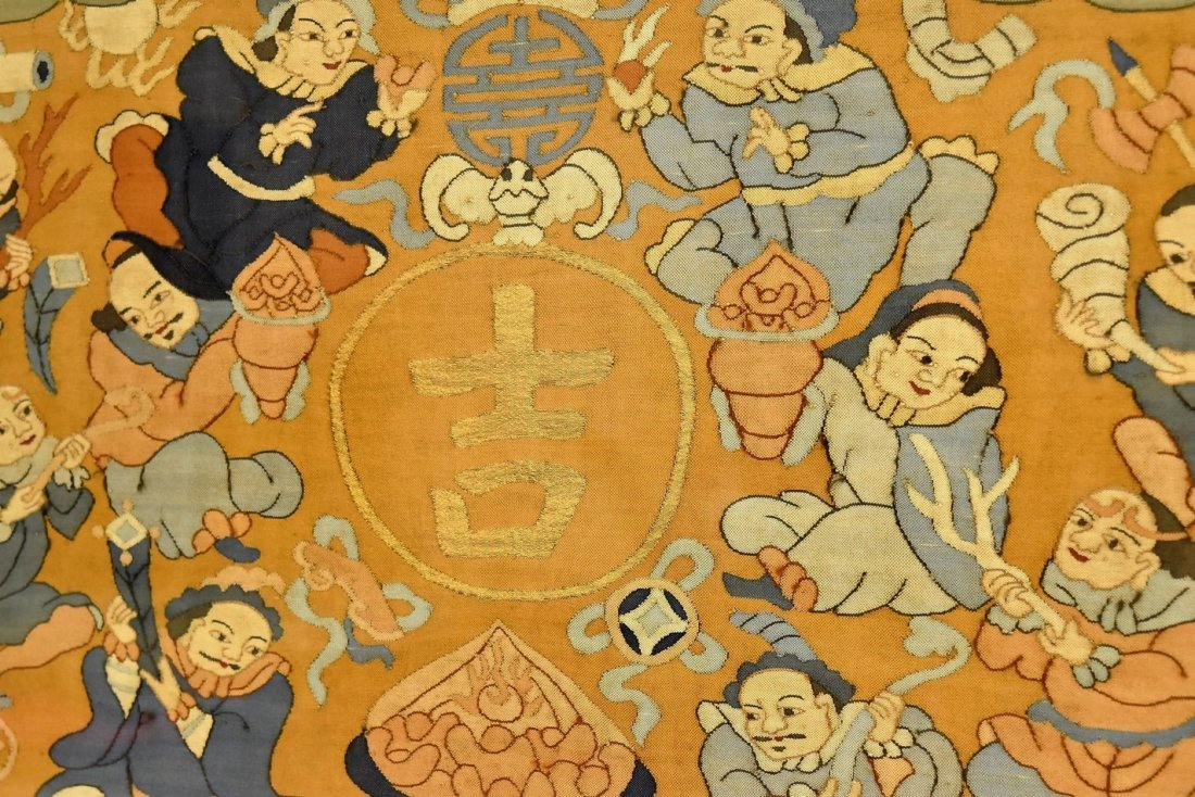 CHINESE SILK KESI OF DOUBLE GOURD, FRAMED - 7