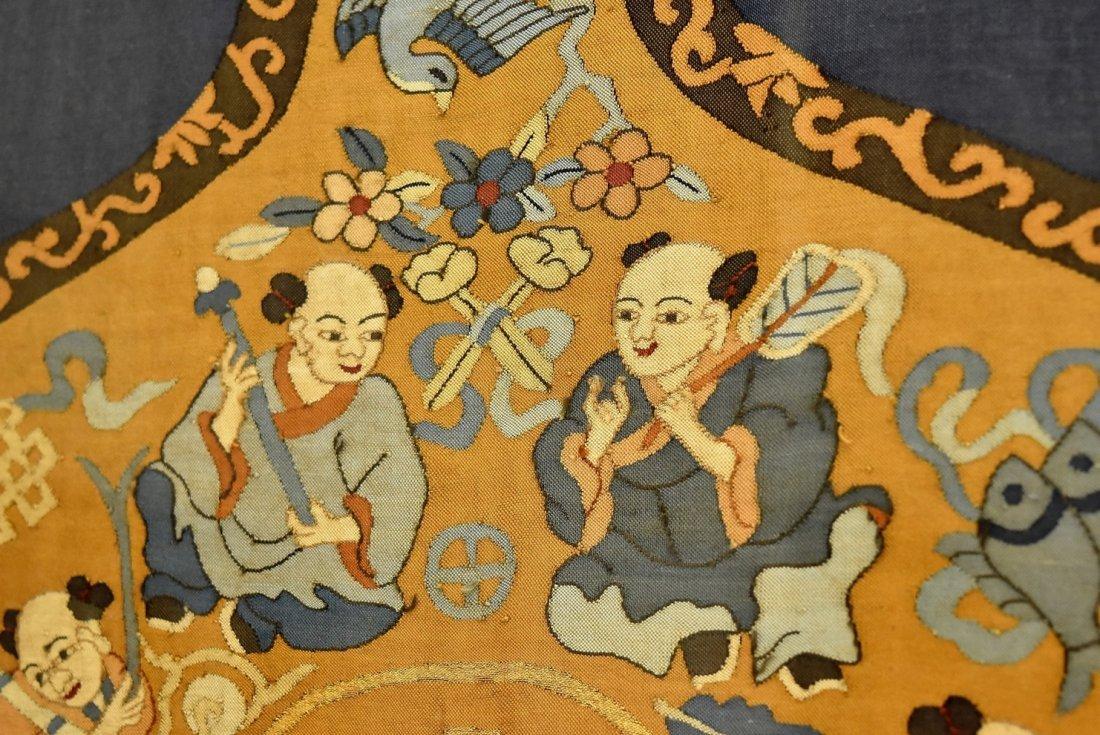 CHINESE SILK KESI OF DOUBLE GOURD, FRAMED - 8
