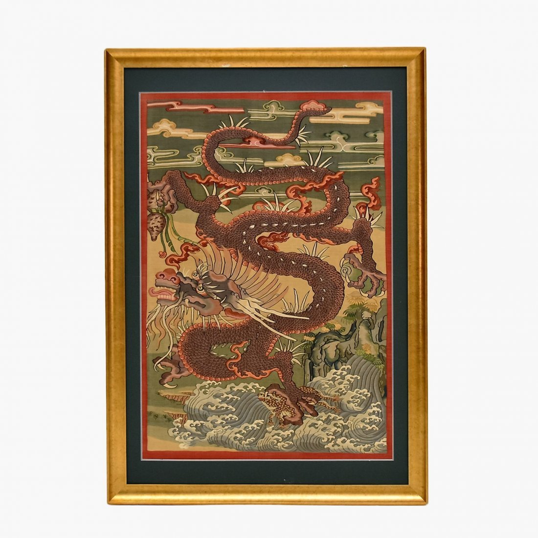LARGE FRAMED CHINESE DRAGONS SILK KESI - 2