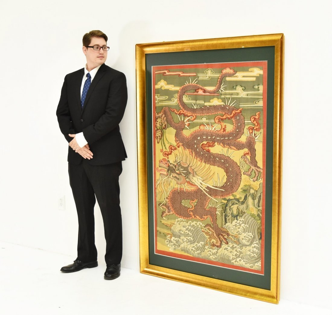 LARGE FRAMED CHINESE DRAGONS SILK KESI - 3