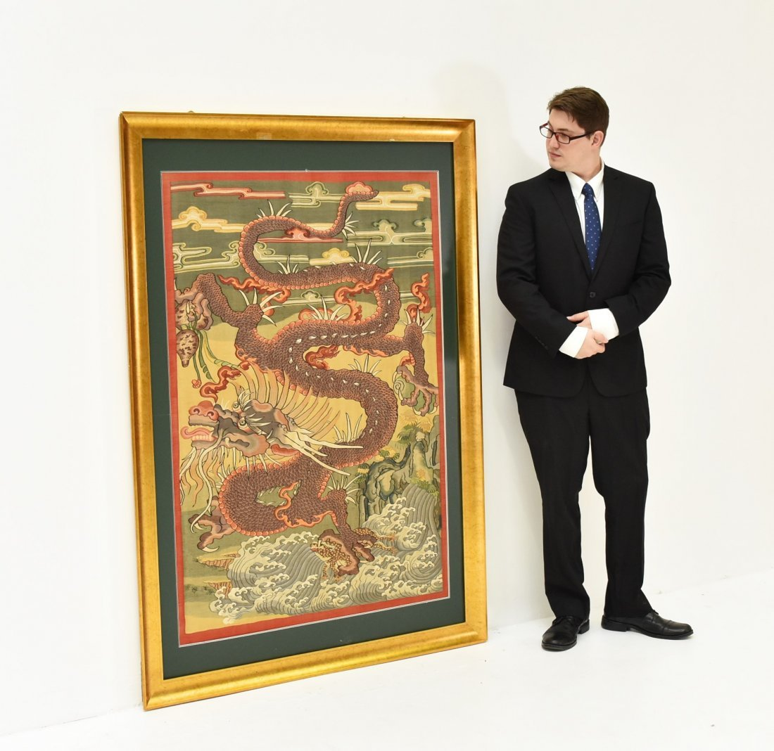 LARGE FRAMED CHINESE DRAGONS SILK KESI - 4