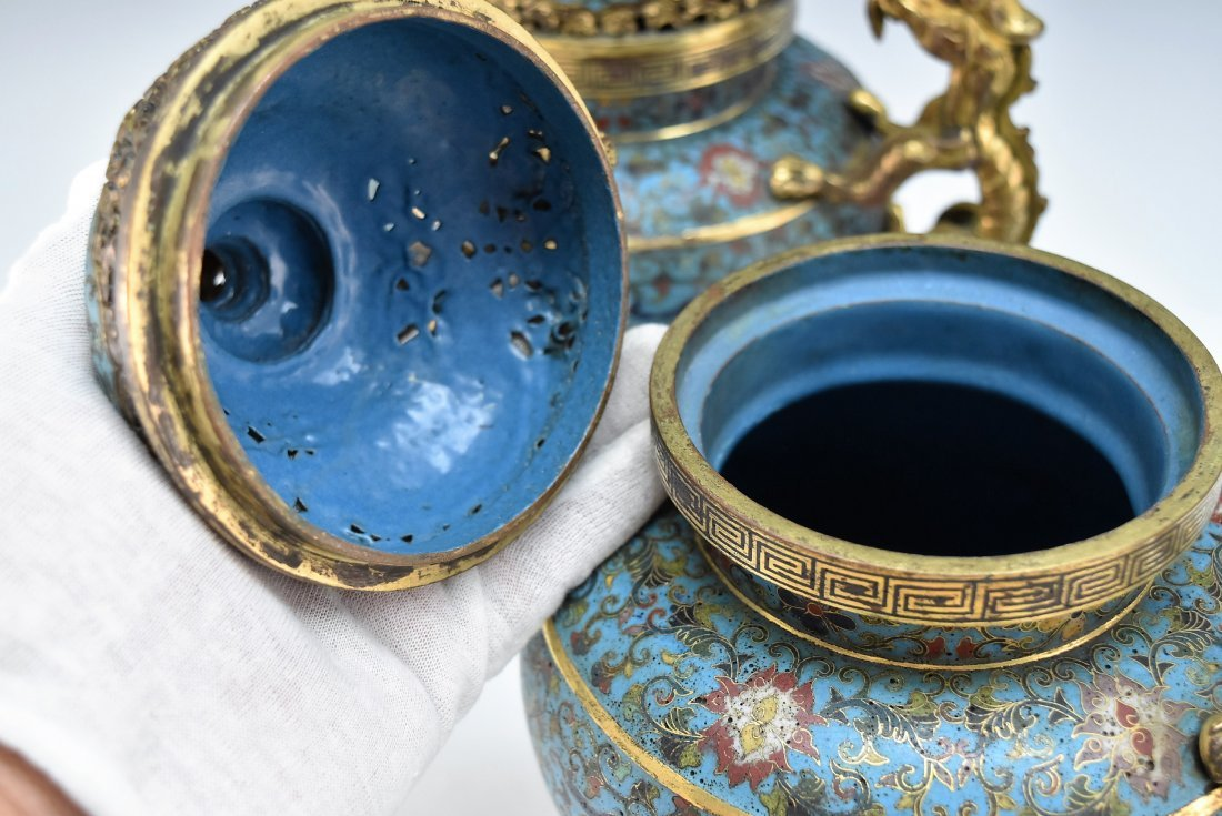 PAIR OF GILT BRONZE & CLOISONNE COVERED TRIPOD CENSER - 10