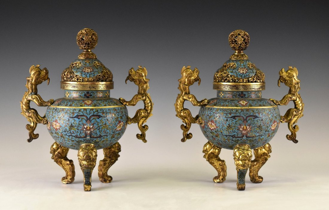 PAIR OF GILT BRONZE & CLOISONNE COVERED TRIPOD CENSER