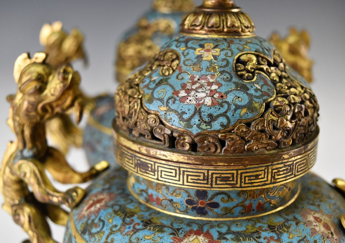 PAIR OF GILT BRONZE & CLOISONNE COVERED TRIPOD CENSER - 7