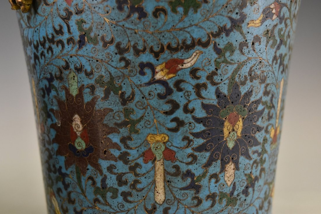 PAIR OF GILT CLOISONNE VASE WITH ENCIRCLING DRAGONS - 10