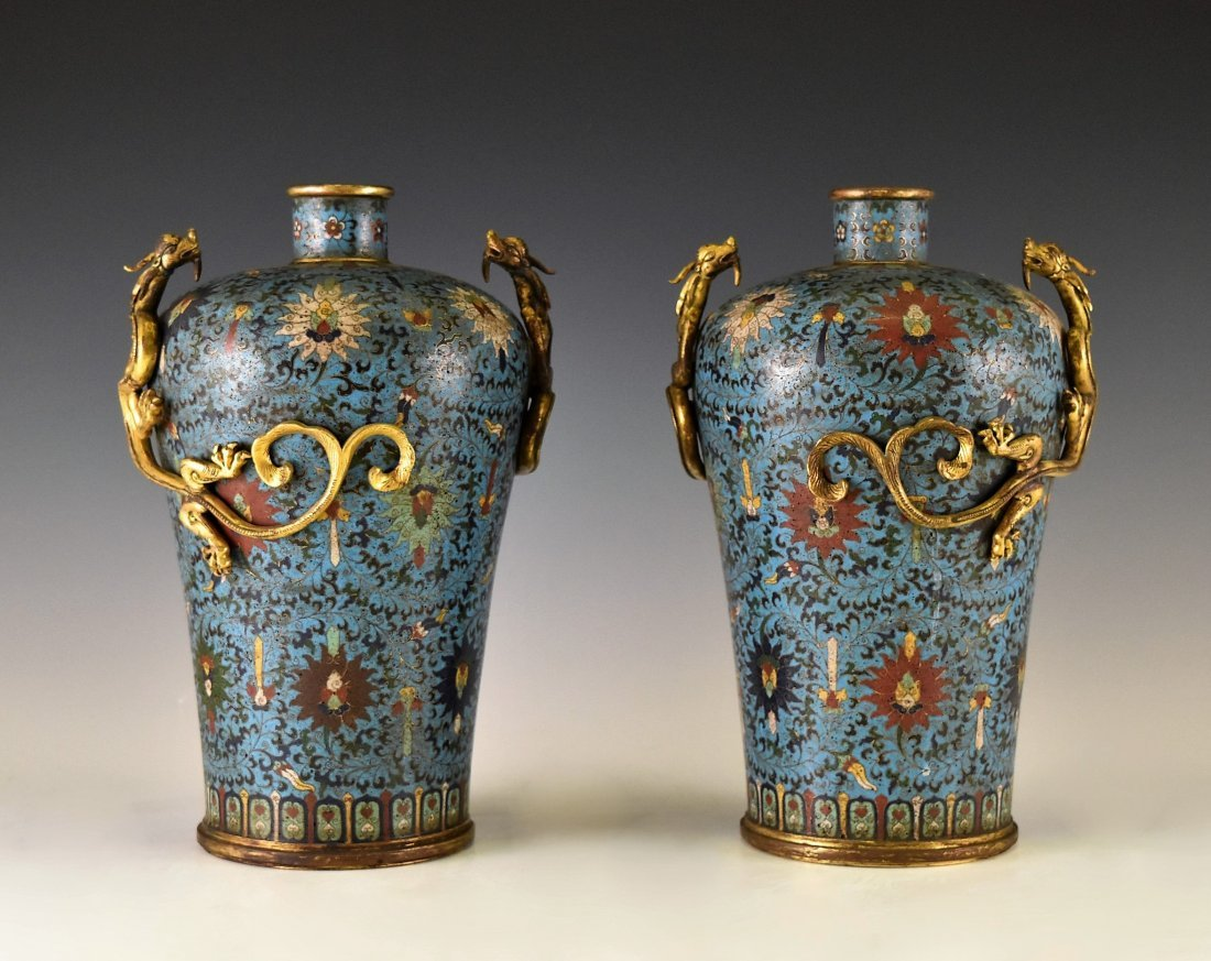 PAIR OF GILT CLOISONNE VASE WITH ENCIRCLING DRAGONS