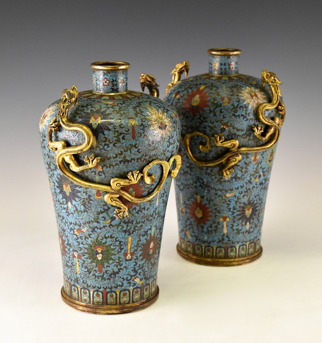 PAIR OF GILT CLOISONNE VASE WITH ENCIRCLING DRAGONS - 2