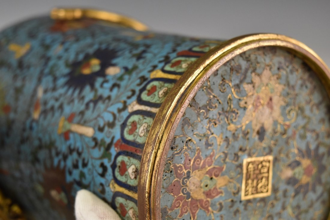 PAIR OF GILT CLOISONNE VASE WITH ENCIRCLING DRAGONS - 8