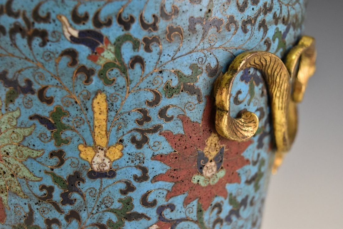 PAIR OF GILT CLOISONNE VASE WITH ENCIRCLING DRAGONS - 9