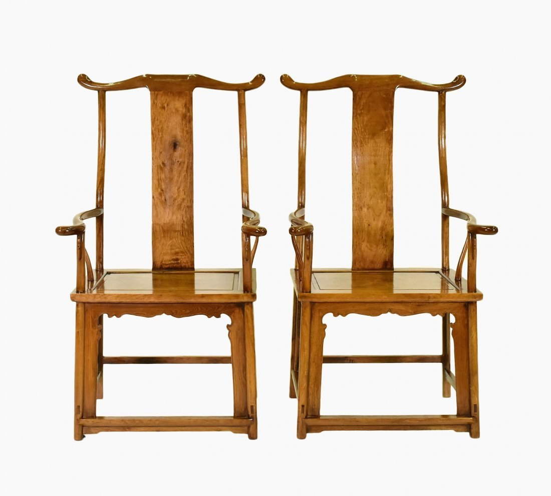 PAIR OF HUANGHUALI OFFICER HAT ARMCHAIRS