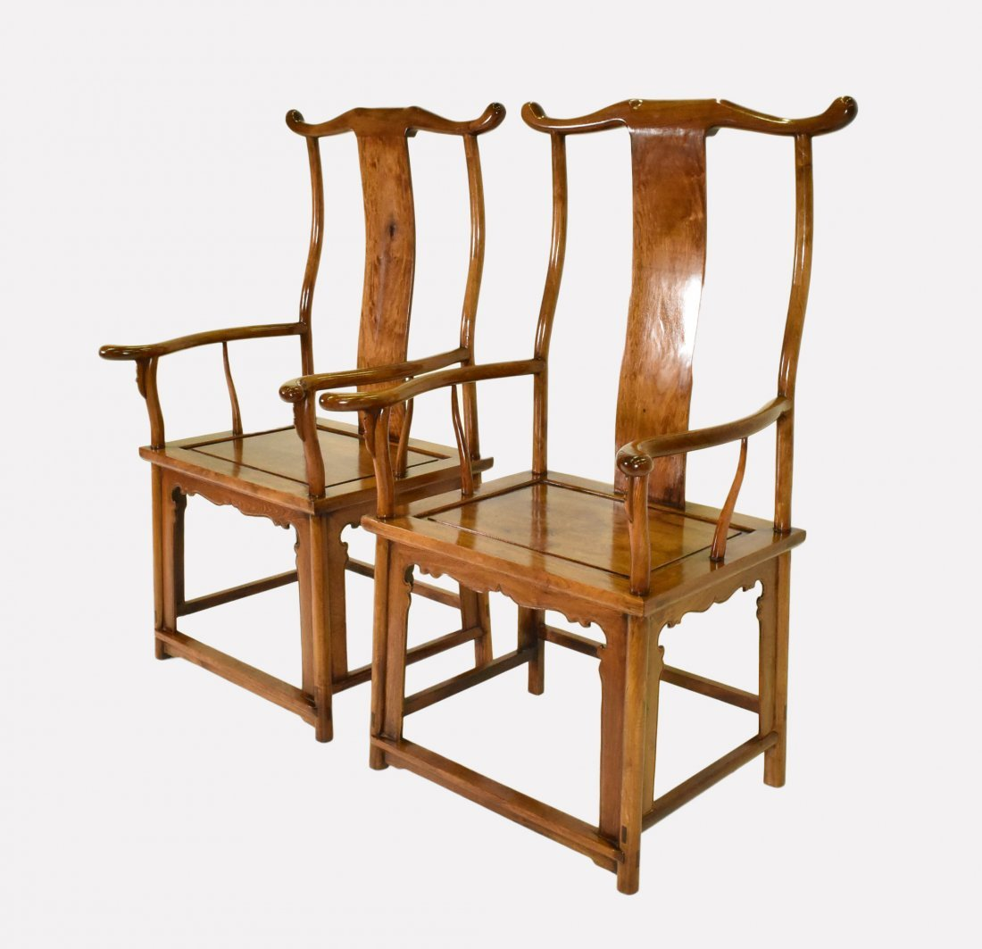 PAIR OF HUANGHUALI OFFICER HAT ARMCHAIRS - 2