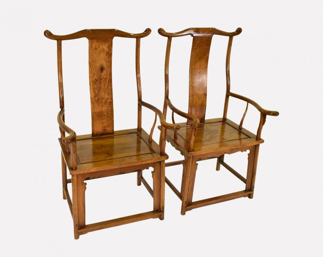PAIR OF HUANGHUALI OFFICER HAT ARMCHAIRS - 3
