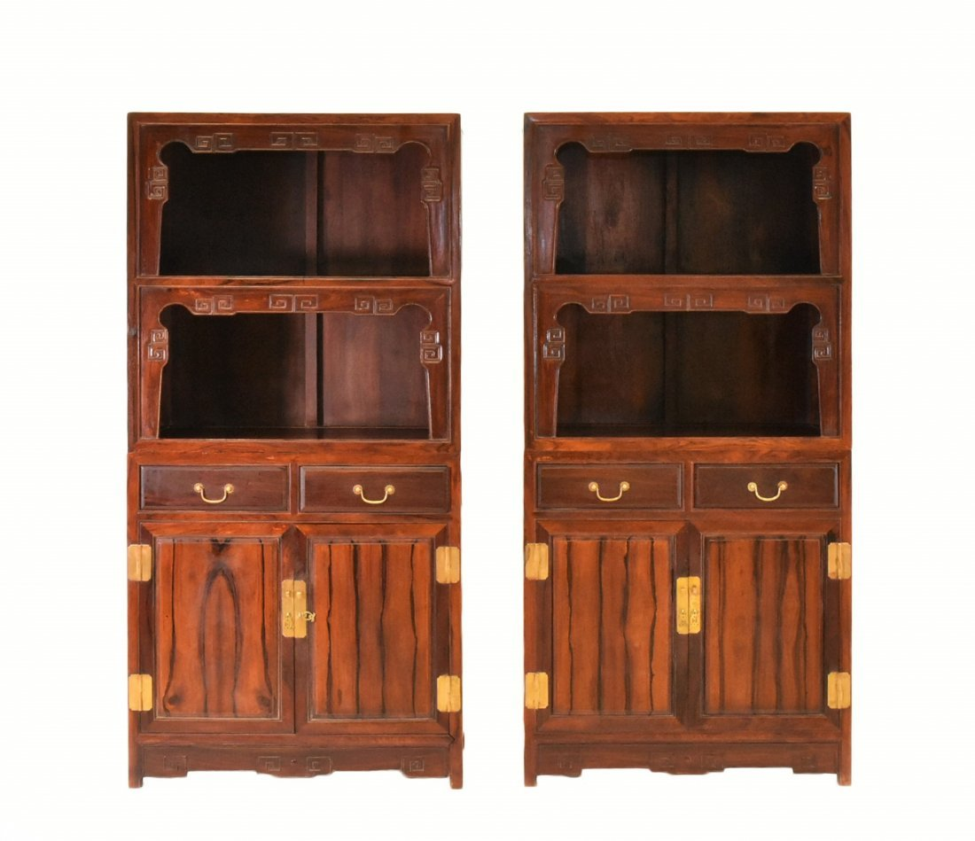PAIR OF HUANGHUALI DOUBLE DOOR CABINETS AND DRAWERS