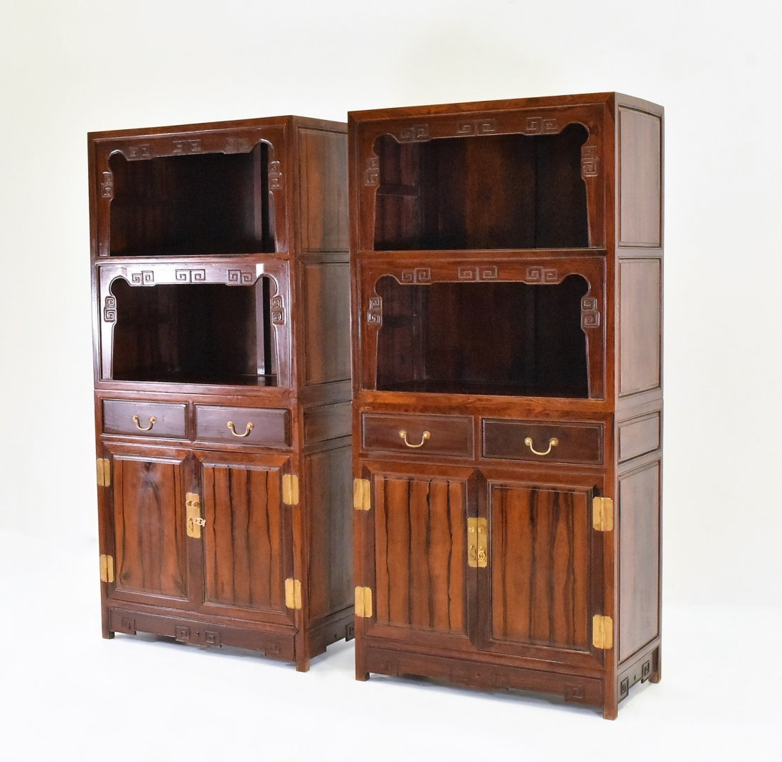 PAIR OF HUANGHUALI DOUBLE DOOR CABINETS AND DRAWERS - 2