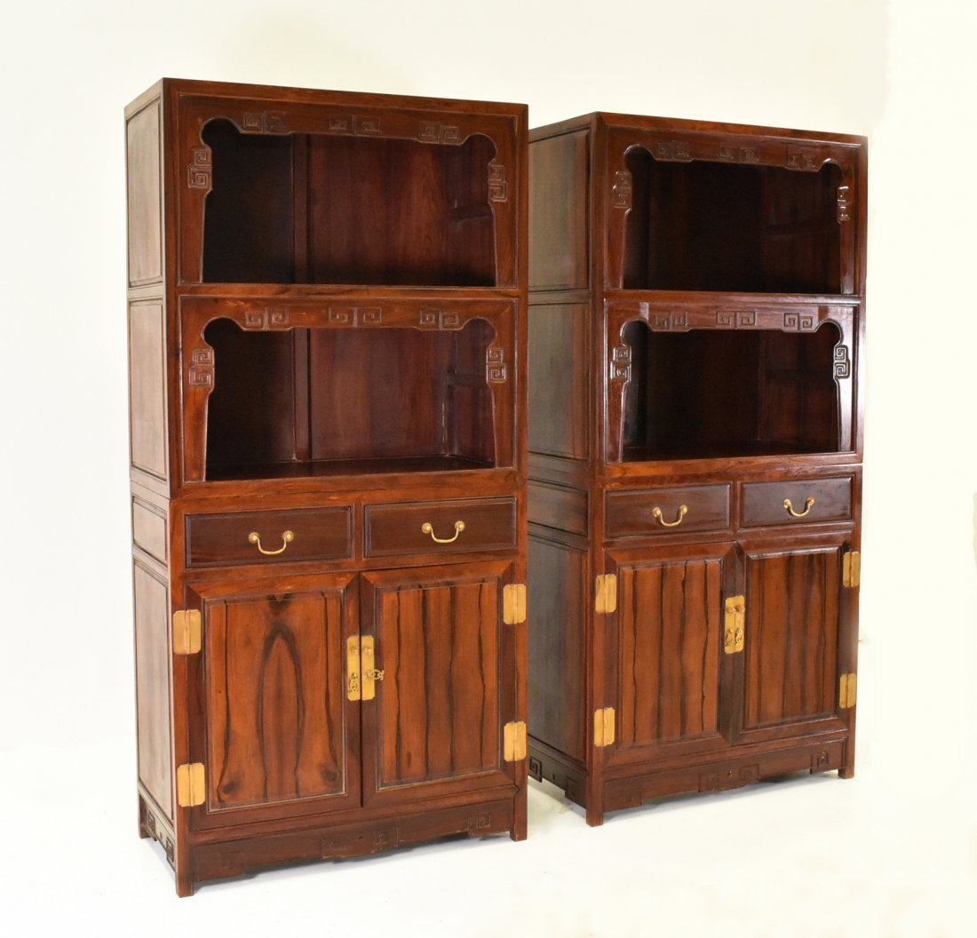 PAIR OF HUANGHUALI DOUBLE DOOR CABINETS AND DRAWERS - 3