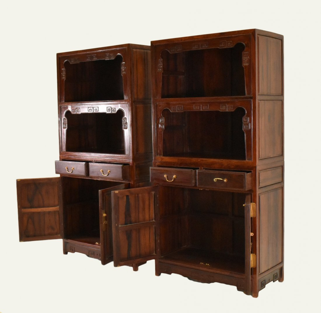 PAIR OF HUANGHUALI DOUBLE DOOR CABINETS AND DRAWERS - 5
