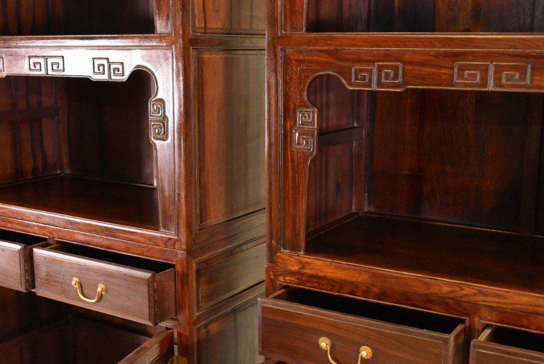 PAIR OF HUANGHUALI DOUBLE DOOR CABINETS AND DRAWERS - 7