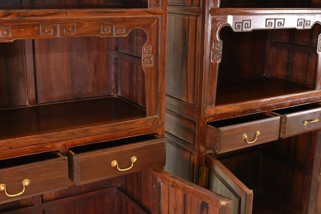 PAIR OF HUANGHUALI DOUBLE DOOR CABINETS AND DRAWERS - 8