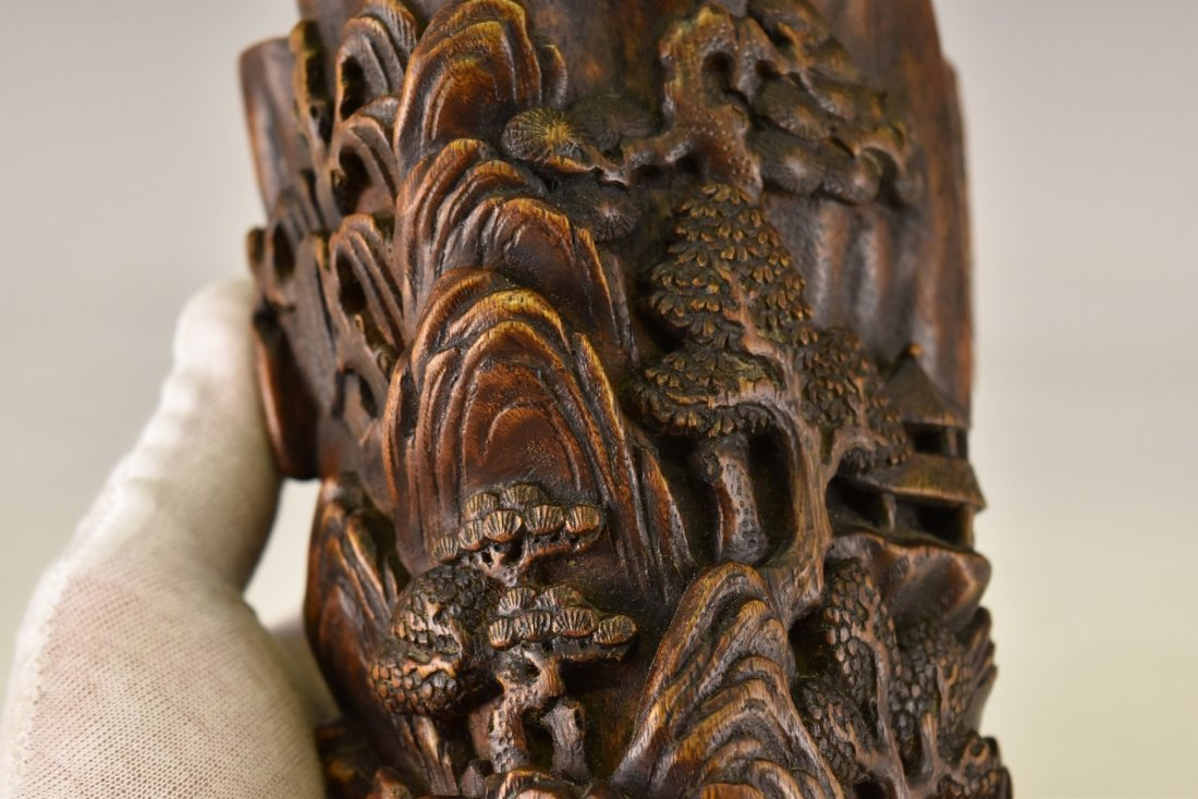 CARVED CHENXIANG WOOD  BRUSH POT - 10