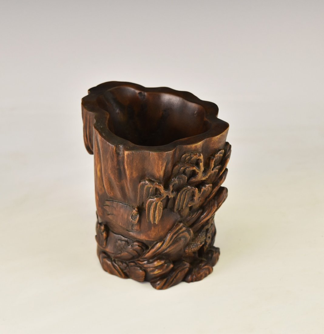 CARVED CHENXIANG WOOD  BRUSH POT - 3