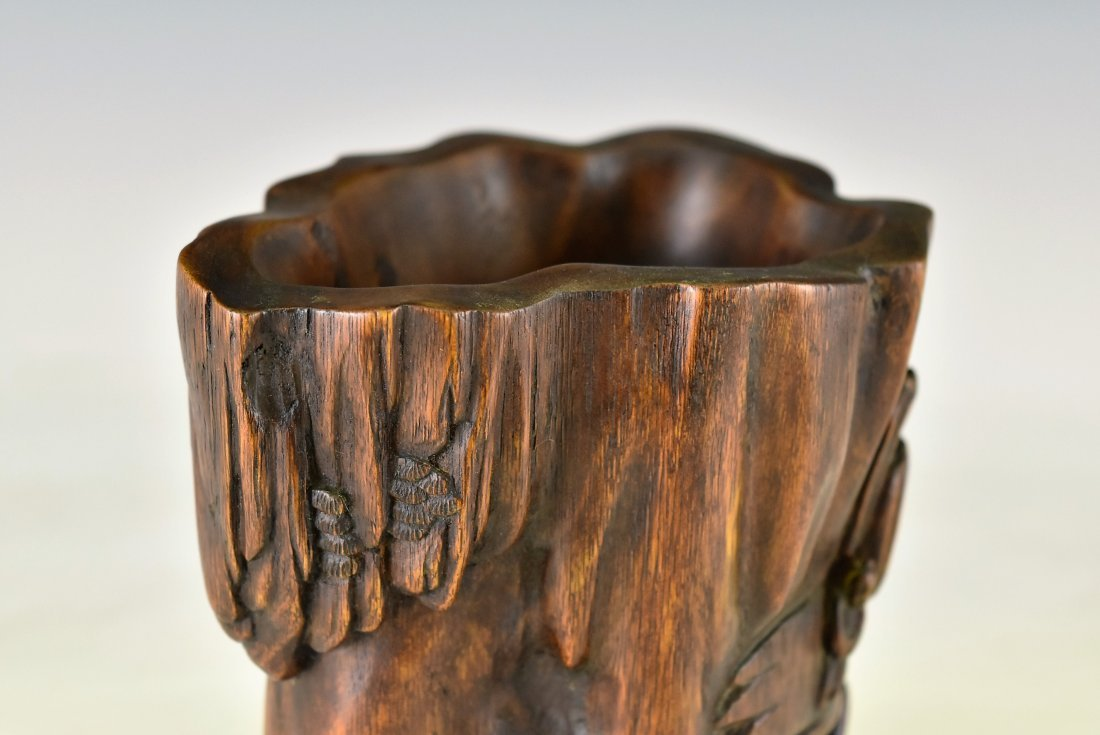 CARVED CHENXIANG WOOD  BRUSH POT - 6