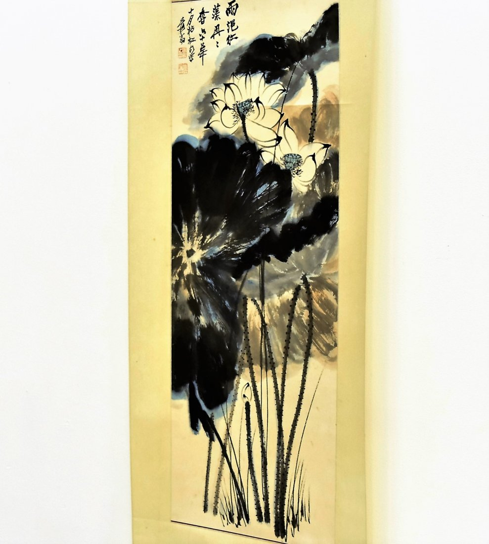 CHINESE SPLASHING-INK SCROLL PAINTING OF LOTUS - 10