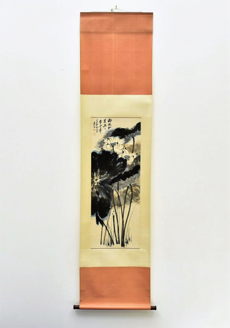 CHINESE SPLASHING-INK SCROLL PAINTING OF LOTUS