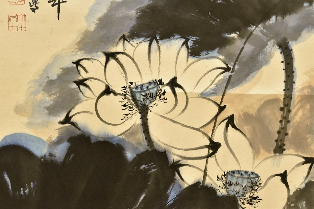 CHINESE SPLASHING-INK SCROLL PAINTING OF LOTUS - 4