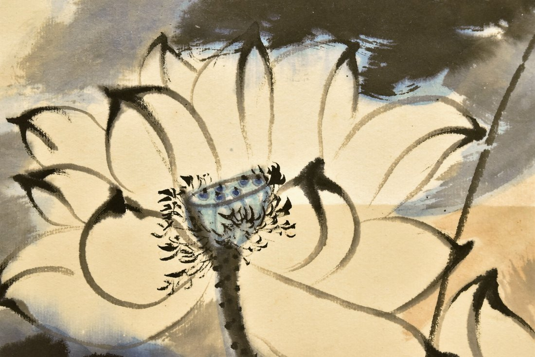 CHINESE SPLASHING-INK SCROLL PAINTING OF LOTUS - 9