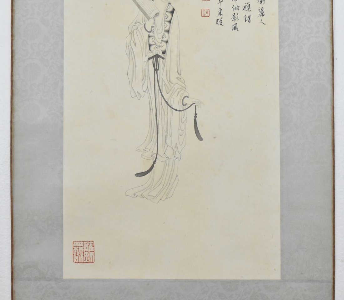 PU RU (1896-1963) CHINESE GRAISALLE PAINTING OF A LADY - 4